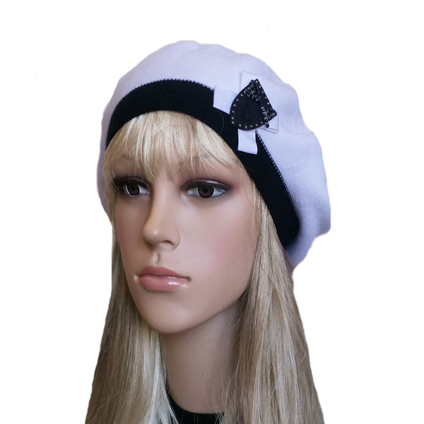 White Black knit womens beret