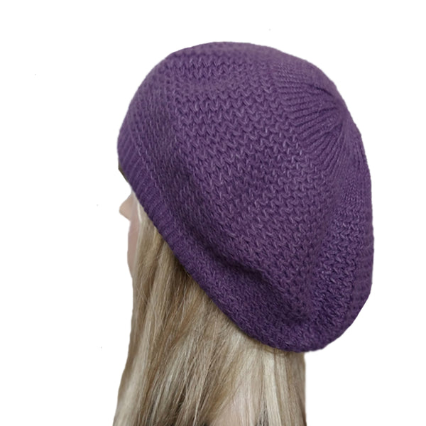 Lilac winter wool knit beret for women big size