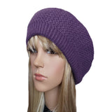 Lilac winter wool beret for women big size