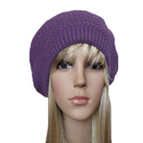 Lilac winter wool knit beret  big size