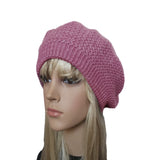 Pink winter wool knit beret for women big size head