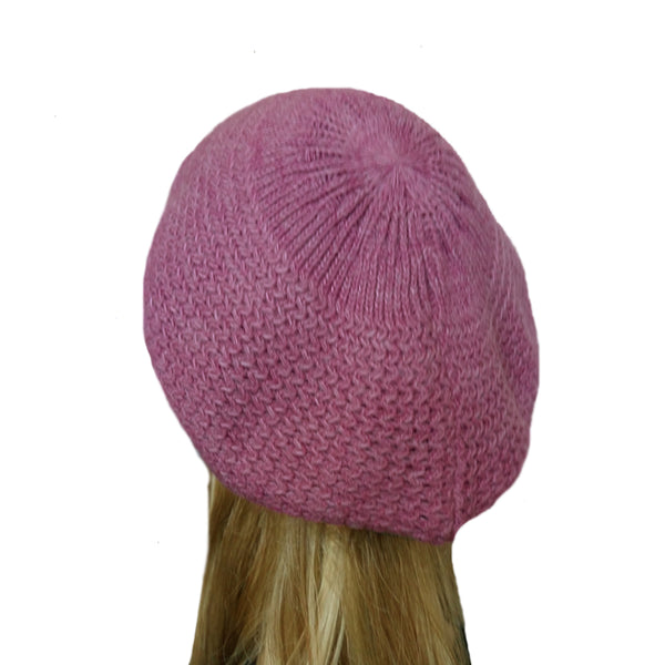 Pink winter wool knitted beret for women big size head