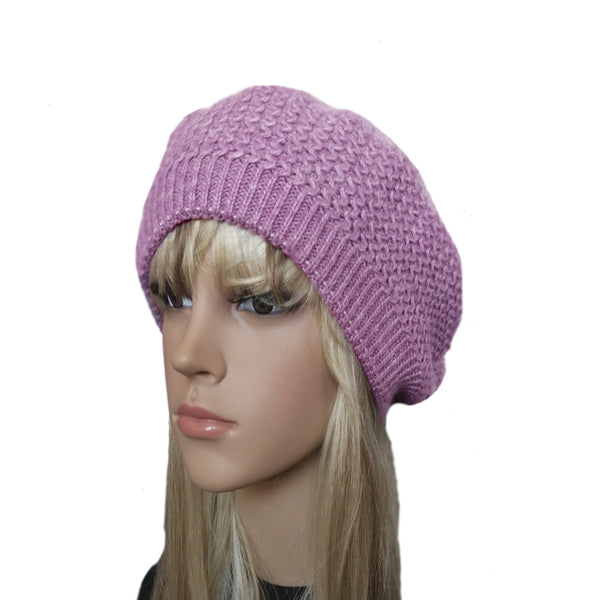 Light Lilac winter wool beret for women big size