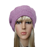Light Lilac winter wool knit beret  big size