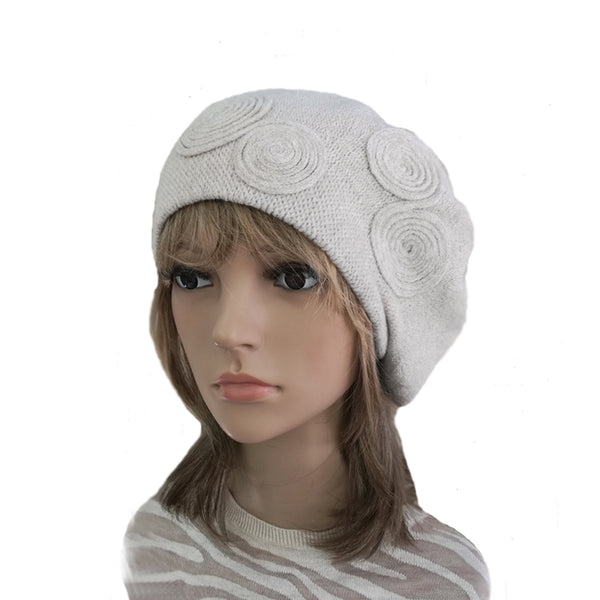 White Women's Knitted Wool Beret for Winter