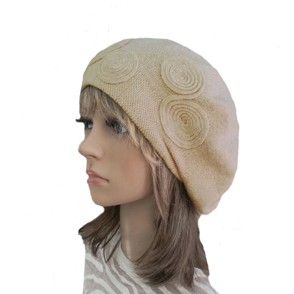 Beige Women's Knitted Wool French Beret for Winter