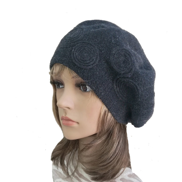 Black  Women's Knitted Wool French Beret for Winter
