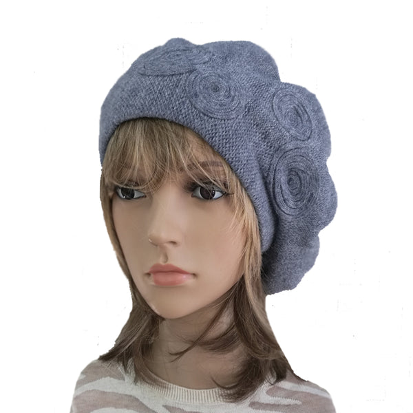 Blue  Women's Knitted Wool French Beret for Winter