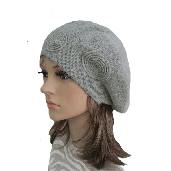 Gray Women's Knitted Wool French Beret for Winter