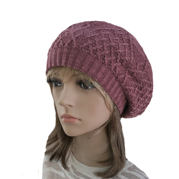 Winter Women's Wool Beret - Warm Hat with Lining in vine color