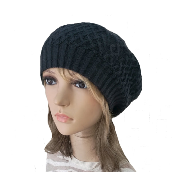 Winter Women's Wool Beret - Hat with Lining in black color