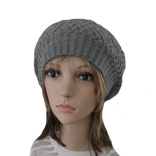 Winter Women's Wool Beret - Hat with Lining in gray color
