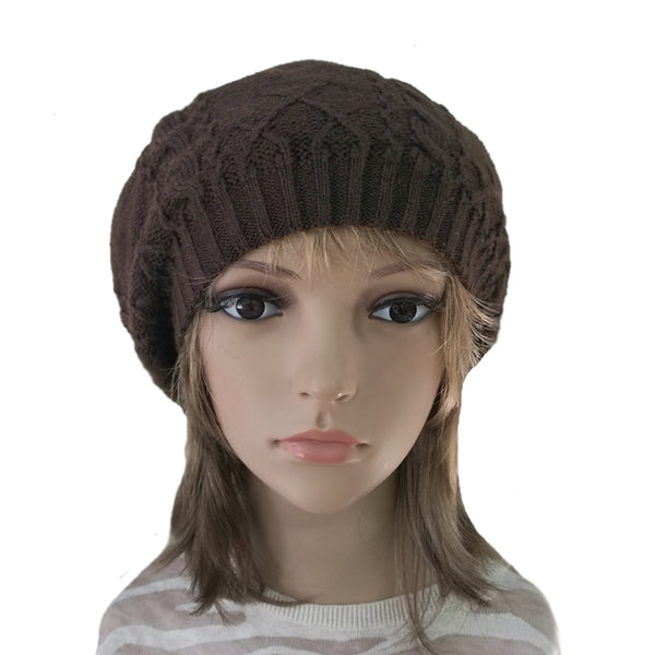Winter Women's Wool Beret - Hat with Lining in brown color