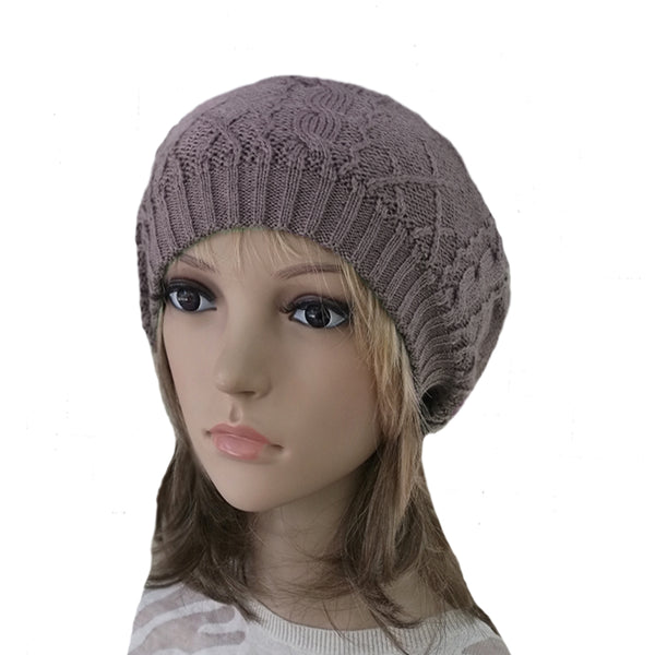 Winter Women's Wool Beret - Hat with Lining in lilac color
