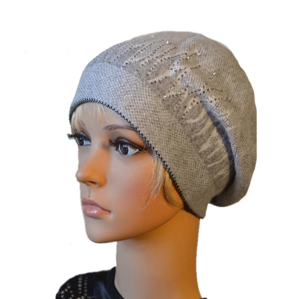 Gray wool women's beret beanie