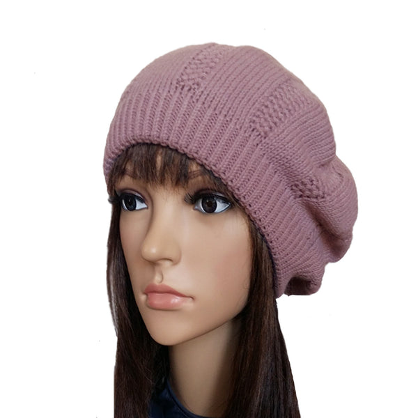 Pink Women's Winter Knitted Beret Wool Warm Ladies  Hat