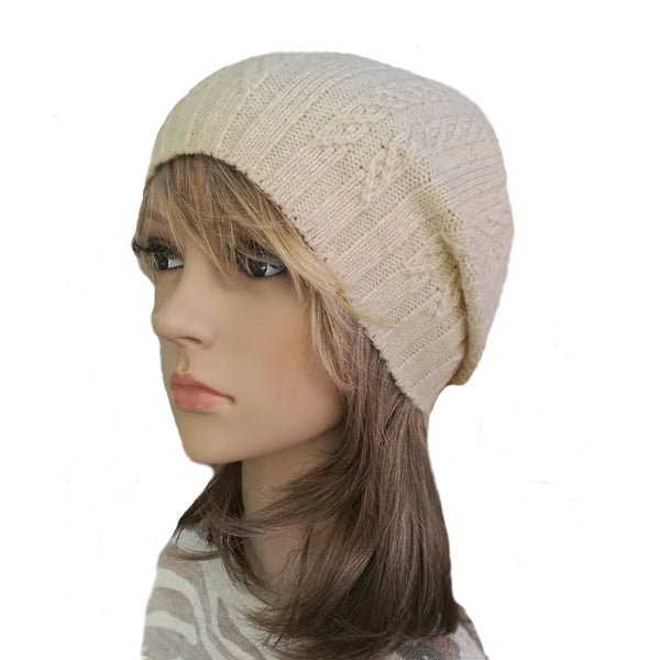 Wholesale Beige casual style wool beanie for women