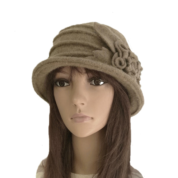 Beige Women's Cloche Felted Hat