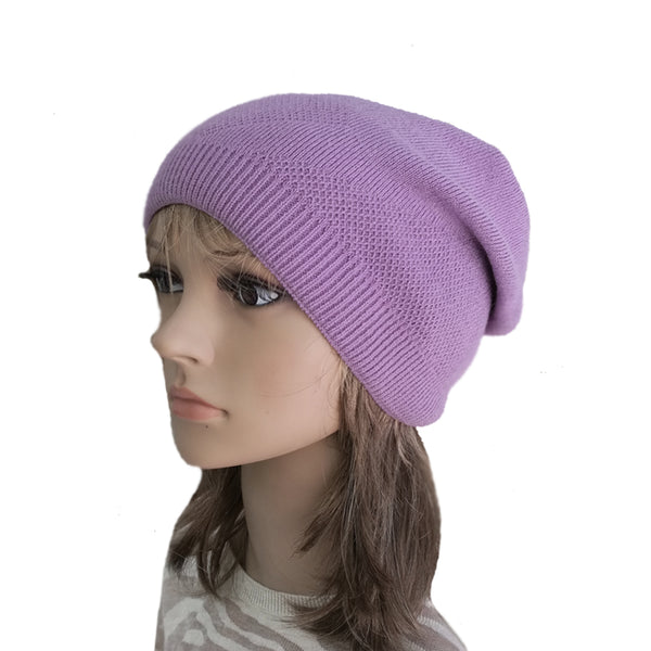 Wholesale Lilac Boho Street Knitted Slouch Beanie