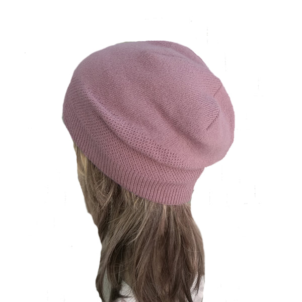 Wholesale Pink Boho Street Knitted Slouch Beanie