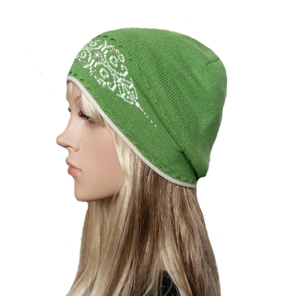 Wholesale Green wool knit women's beanie for winter , fall, spring
