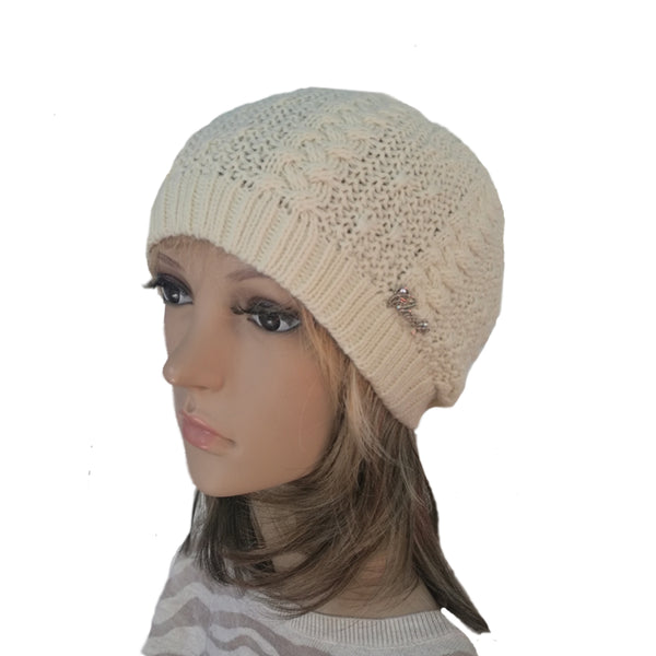 Wholesale Cream Knit Wool Slouchy Hat Street Style