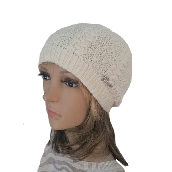 Wholesale White Knit Wool Slouchy Hat Street Style