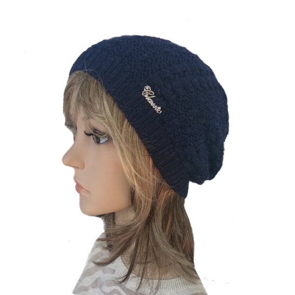 Wholesale Blue Knit Wool Slouchy Hat Street Style