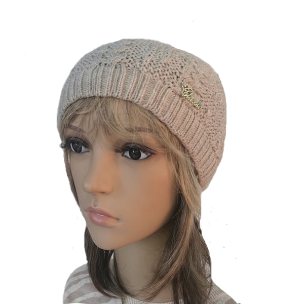 Wholesale Beige Knit Wool Slouchy Hat Street Style