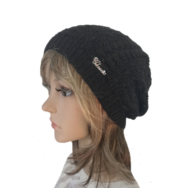 Wholesale Black Knit Wool Slouchy Hat Street Style