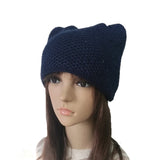 Wholesale Blue Women's Knit Hat Cap Cat pattern with sequins