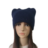 Blue Women's Knit Hat Cat pattern with sequins