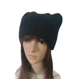 Black Women's Knit Hat Cap Cat pattern with sequins