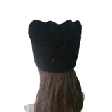 Wholesale Black Women's Knit Hat Cap Cat pattern with sequins