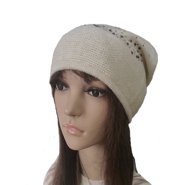 Wholesale Beige Knit Wool Beanie Casual Style