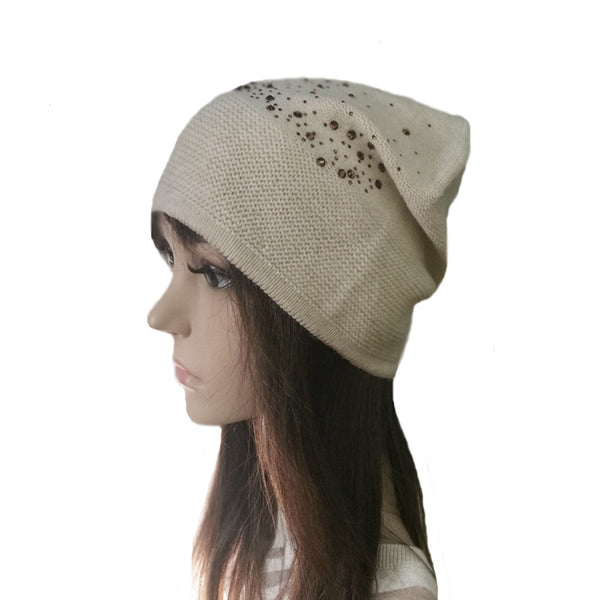 Wholesale Beige Knitted Wool Beanie Casual Style
