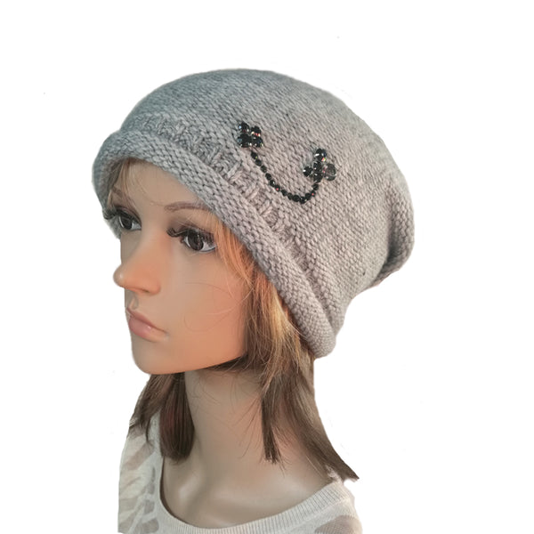 Wholesale Beanie - Gray Knitted Women's  Hat with Rhinestone