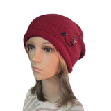 Wholesale Hat - Red Knitted Women's  Cap with Rhinestone
