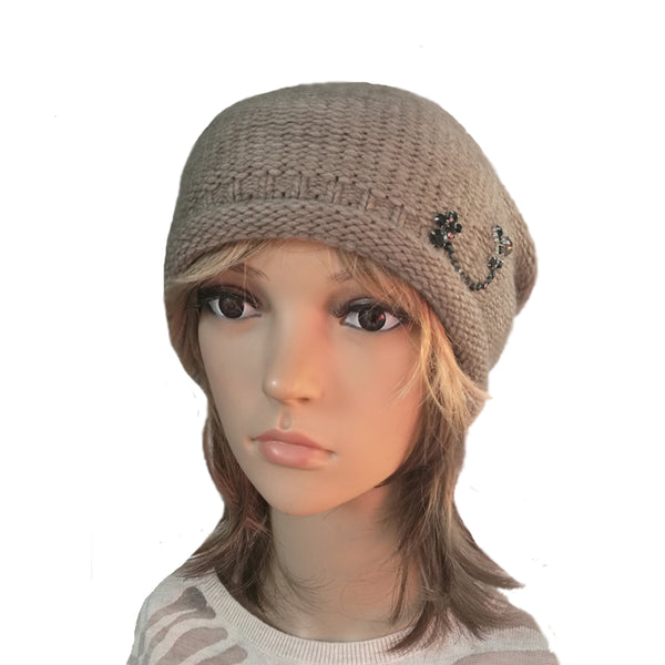 Wholesale Beanie - Beige Knitted Women's  Hat with Rhinestone