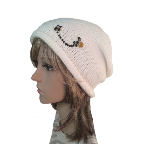 Wholesale Beanie - White Knitted Women's  Hat with Rhinestone