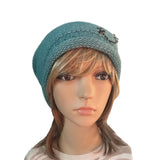 Wholesale Beanie - Turquoise Knitted Women's  Hat