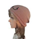 Wholesale Beanie - Pink Knitted Women's  Hat with Rhenestone