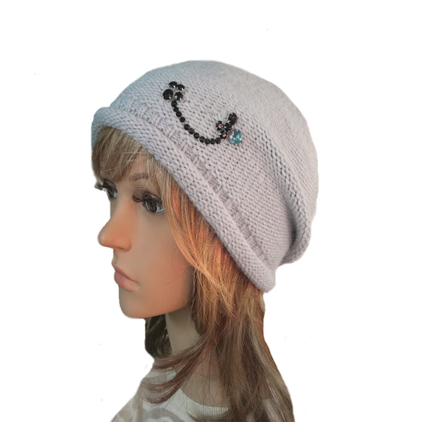 Wholesale Beanie - Light Blue Knitted Women's  Hat