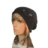 Wholesale Beanie - Black Knitted Women's  Hat with Rhinestone