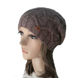 Wholesale  Brown Knitted Wool Women's Slouch Beanie