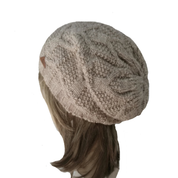 Wholesale  Beige Knitted Wool Women's Slouch Beanie