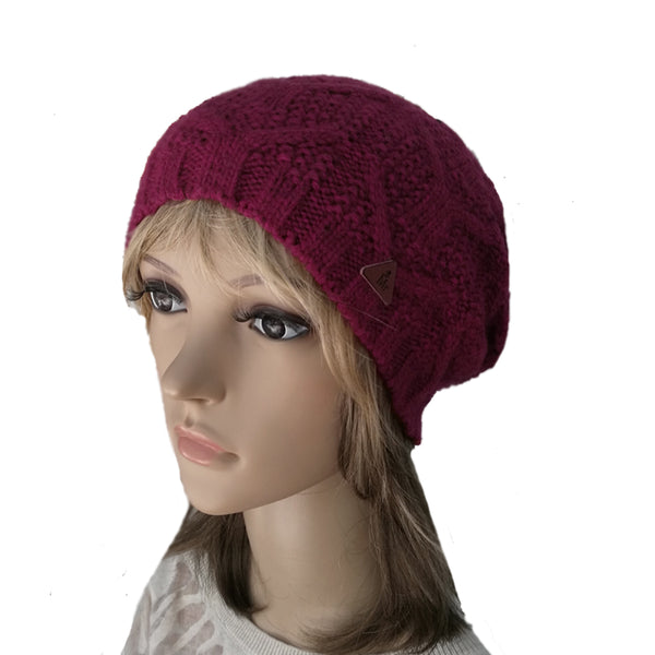 Wholesale  Bordo Knitted Wool Women's Slouch Beanie