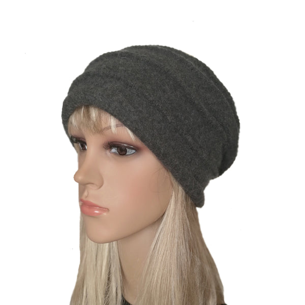 Gray Winter Felted Wool Beanie Warm Felt Hat