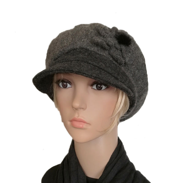 Wholesale Winter Felt Hat with Visor - Newsboy Hat Felted Wool