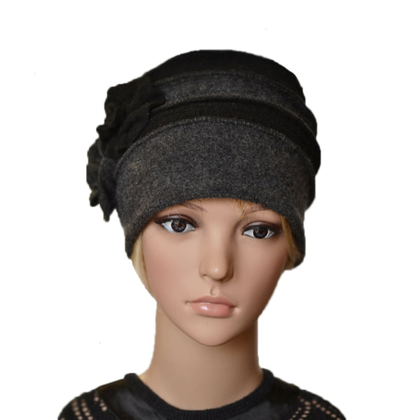 Wholesale Black Felt Wool Warm Ladies Beanie for Winter